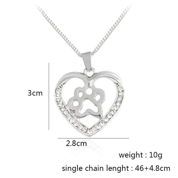 Silver Colors Heart Love Dog Paw Inside Pendant Necklace 6