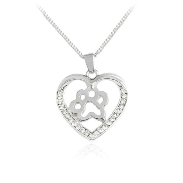 Silver Colors Heart Love Dog Paw Inside Pendant Necklace 1