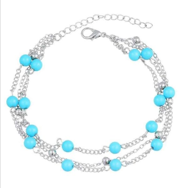 Simple Retro Wild Blue Ball Anklet Bohemian Style 2