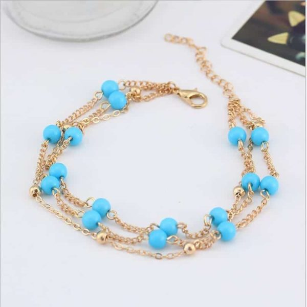 Simple Retro Wild Blue Ball Anklet Bohemian Style 3