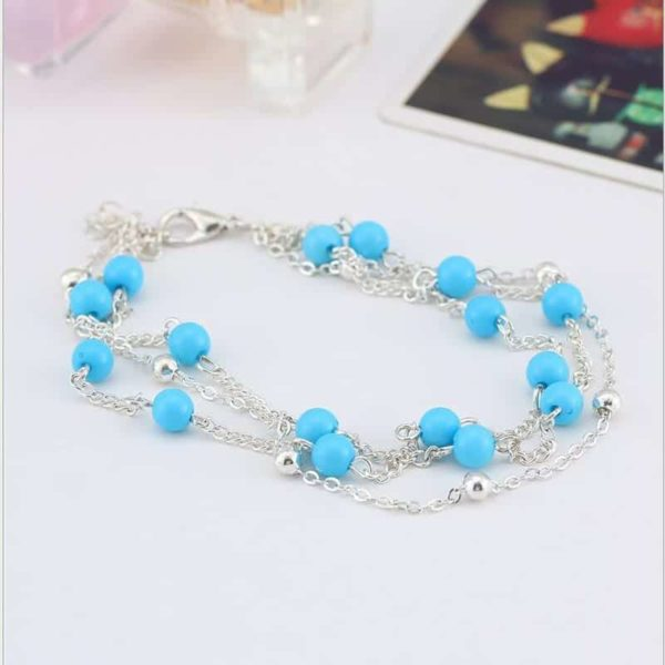 Simple Retro Wild Blue Ball Anklet Bohemian Style 4