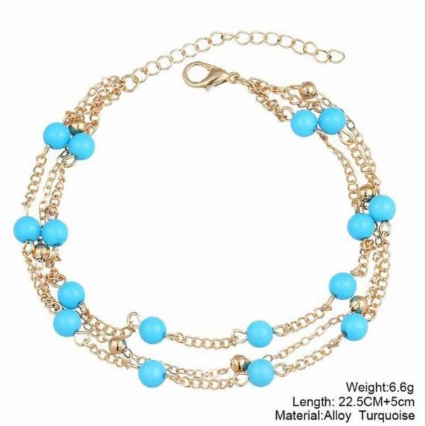 Simple Retro Wild Blue Ball Anklet Bohemian Style 5