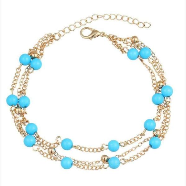 Simple Retro Wild Blue Ball Anklet Bohemian Style 1