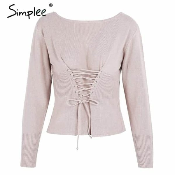 Simple Waistband Lace Up Sweater 9