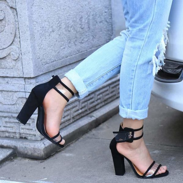 Super High Shoes Sexy Clear Transparent Strap Buckle 3