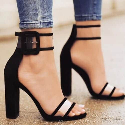 Super High Shoes Sexy Clear Transparent Strap Buckle 9