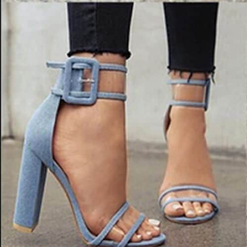 Super High Shoes Sexy Clear Transparent Strap Buckle 12