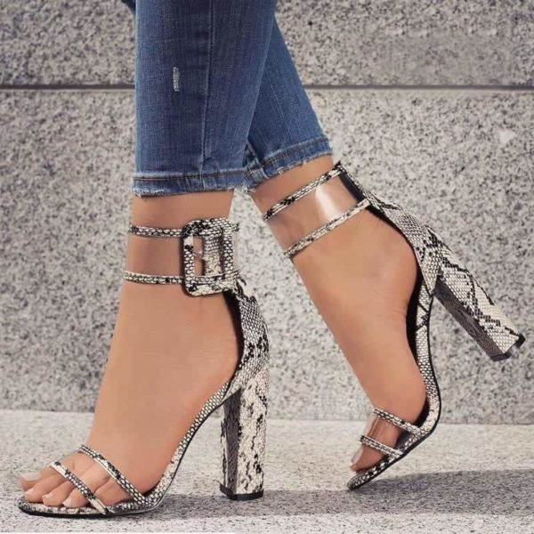 Super High Shoes Sexy Clear Transparent Strap Buckle 1