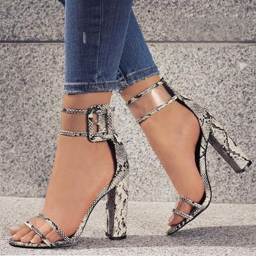 Super High Shoes Sexy Clear Transparent Strap Buckle 7