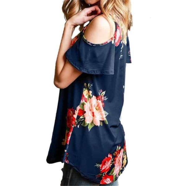 Floral Cold Off The Shoulder Blouse Casual 2