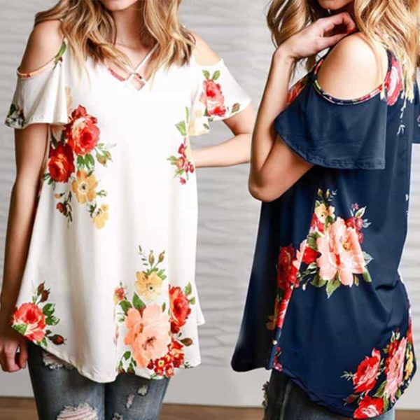 Floral Cold Off The Shoulder Blouse Casual 5