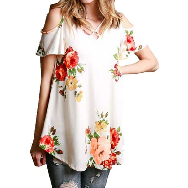 Floral Cold Off The Shoulder Blouse Casual 6