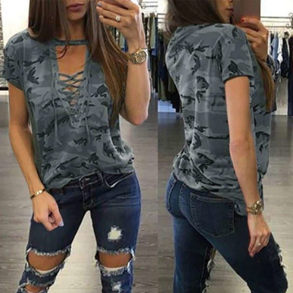 Sexy Bandage Camouflage Casual T-Shirt 1
