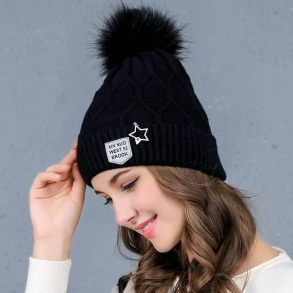 Straight Knited Beanies Cap Hooded 25