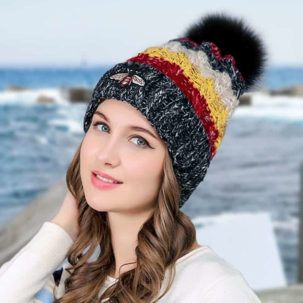Straight Knited Beanies Cap Hooded 1