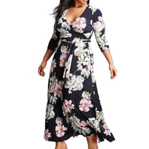Plus Size Floral Dress With Sleeves