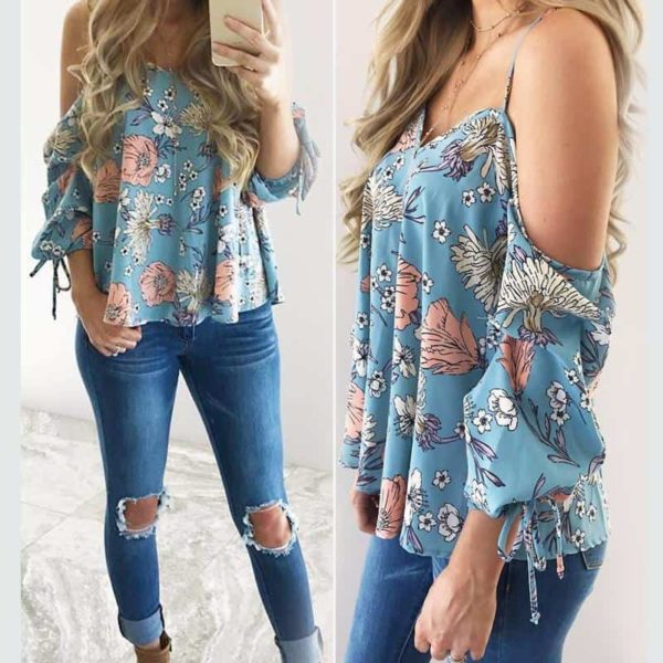 Floral Spaghetti Strap Cold Shoulder Shirt 2