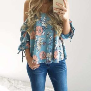 Floral Printed Spaghetti Strap Cold Shoulder Top