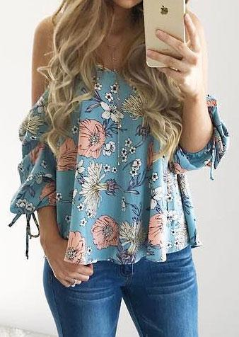 Floral Spaghetti Strap Cold Shoulder Shirt 3