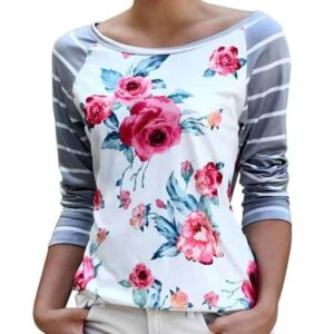 Women Floral Striped Splicing T-Shirt