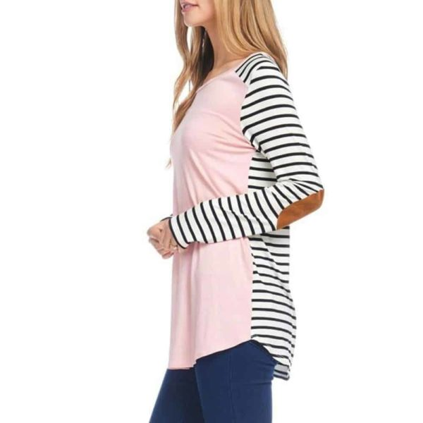 Long Sleeve T-Shirt Striped Splicing Elbow Patch 2