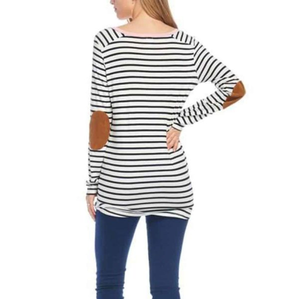Long Sleeve T-Shirt Striped Splicing Elbow Patch 3