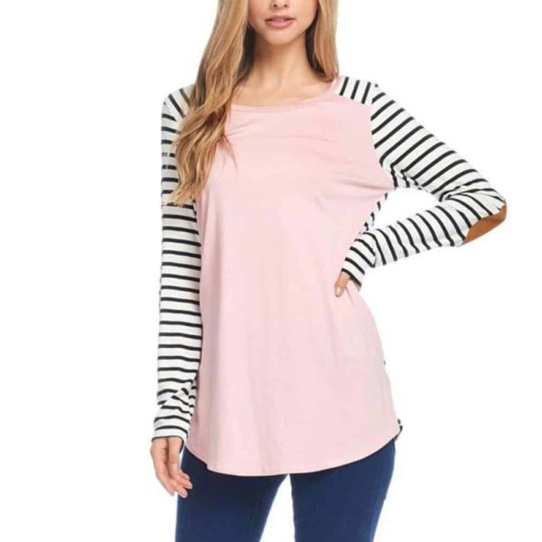 Long Sleeve T-Shirt Striped Splicing Elbow Patch 1