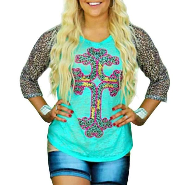 Leopard Splicing Cross Knit Plus Size