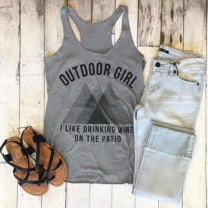 Outdoor Girl Geometric Pattern Tank Tops