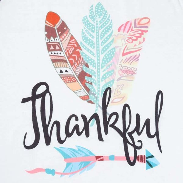 Thankful Long Sleeves Feather T-Shirt 3