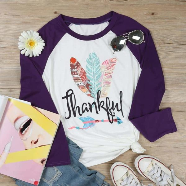 Thankful Long Sleeves Feather T-Shirt 5