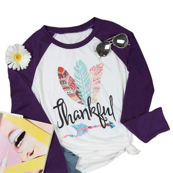 Thankful Long Sleeves Feather T-Shirt