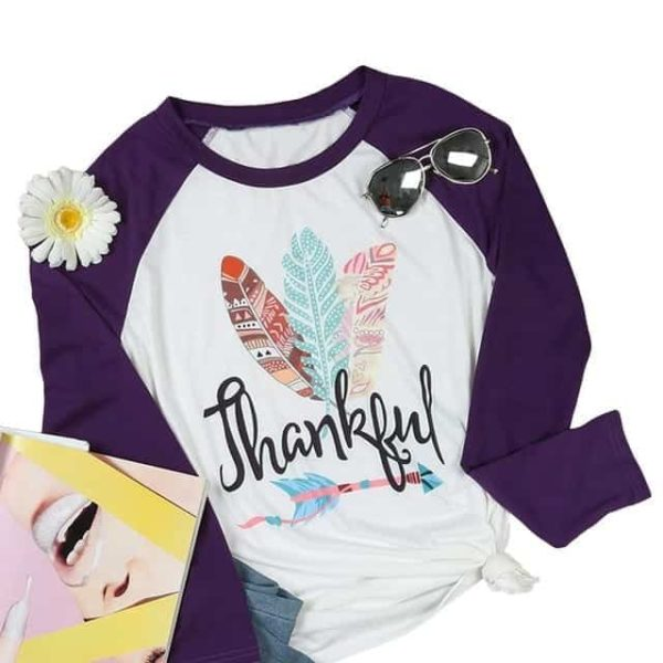 Thankful Long Sleeves Feather T-Shirt 6