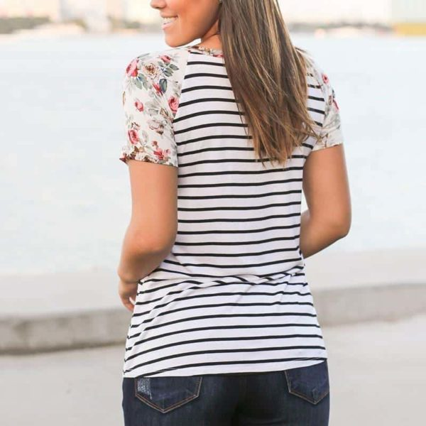 Floral Striped Splicing Baseball T-Shirt 1