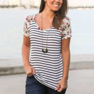 Striped Floral Splicing Baseball T-Shirt