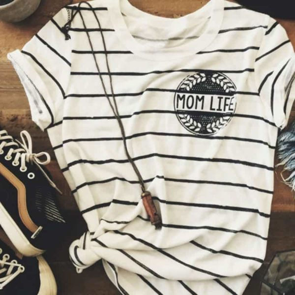 Striped Mom Life Hot T-Shirt 1