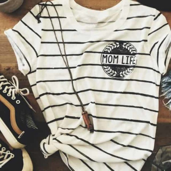 Striped Mom Life Hot T-Shirt 2
