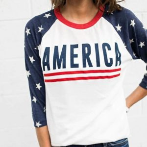 American Star Printed O-Neck Three Quarter Sleeve T-Shirt