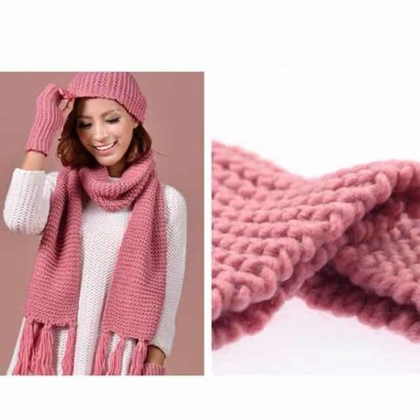 Pink Knitted Ski Beanie Cap Warm Hats Scarf and Gloves 9