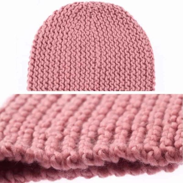 Pink Knitted Ski Beanie Cap Warm Hats Scarf and Gloves 6