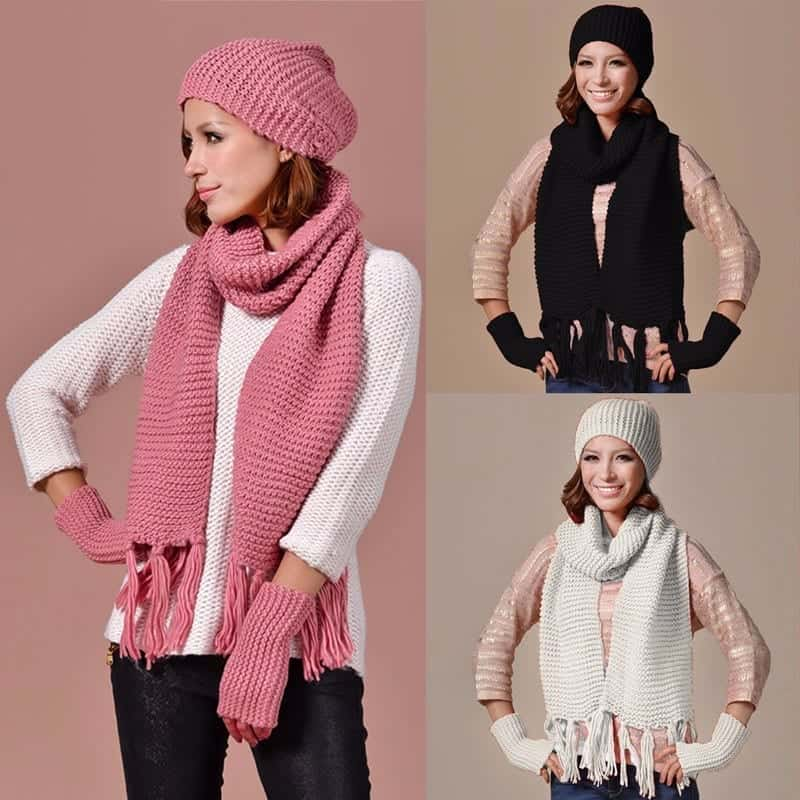 Pink Knitted Ski Beanie Cap Warm Hats Scarf And Gloves