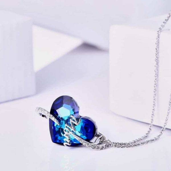 Love Mom Necklace Deep Blue Crystal Heart Pendant 2