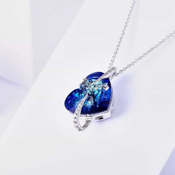 Love Mom Necklace Deep Blue Crystal Heart Pendant 3