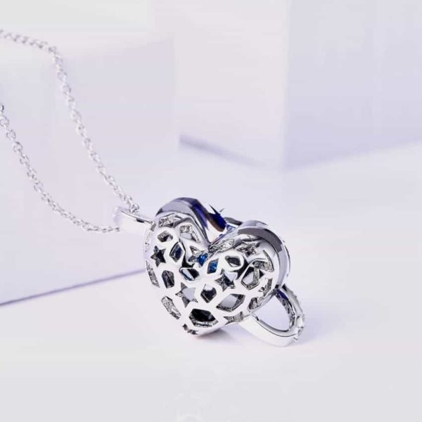 Love Mom Necklace Deep Blue Crystal Heart Pendant 4