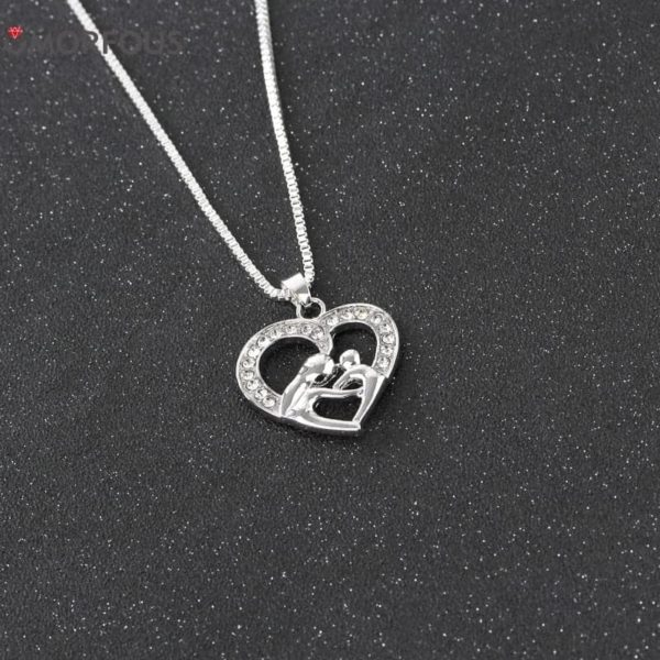 Love Hollow Out Rhinestone Mother and Daughter Necklace 2