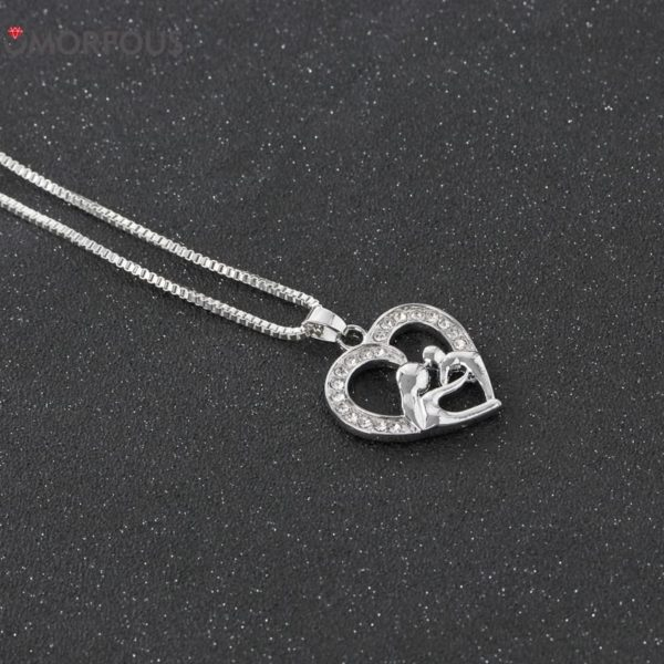 Love Hollow Out Rhinestone Mother and Daughter Necklace 3