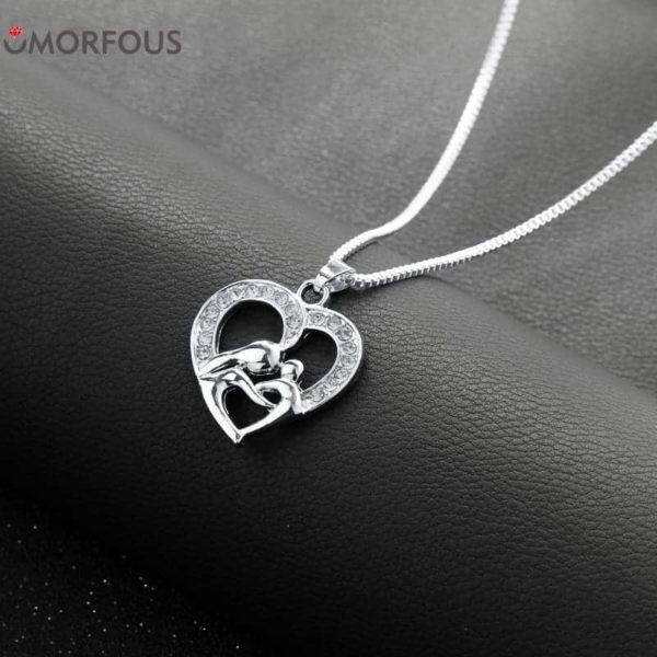 Love Hollow Out Rhinestone Mother and Daughter Necklace 1