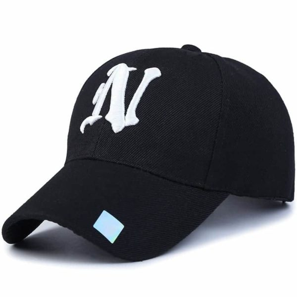 Baseball Cap Solid Color Leisure with N Letter Embroidered 2