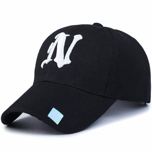 Baseball Cap Solid Color Leisure with N Letter Embroidered 8