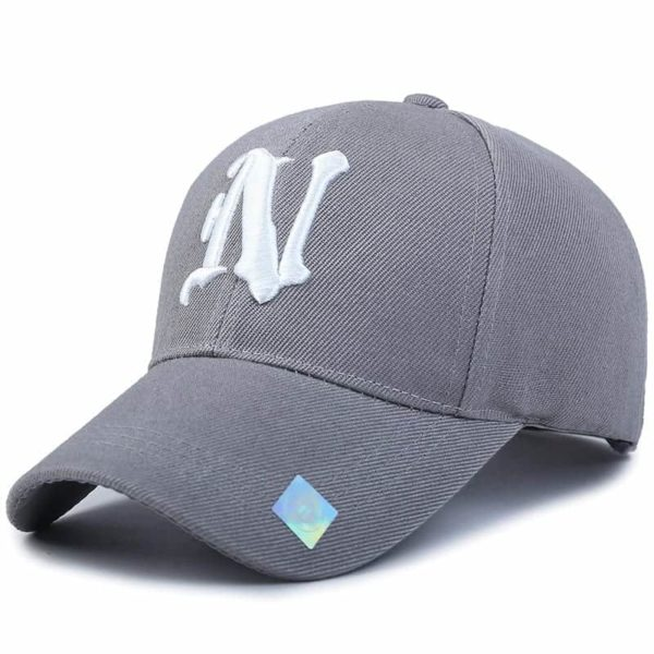 Baseball Cap Solid Color Leisure with N Letter Embroidered 4